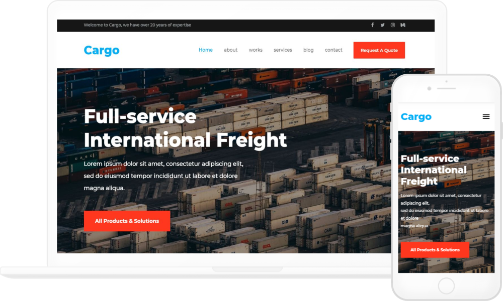 Logistics and Cargo Homepage Elementor Template - Elementor Landing