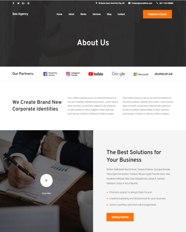 SEO agency elementor template about page