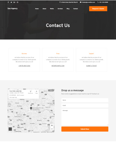 SEO agency elementor template contact page
