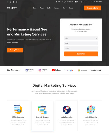 SEO agency elementor template homepage