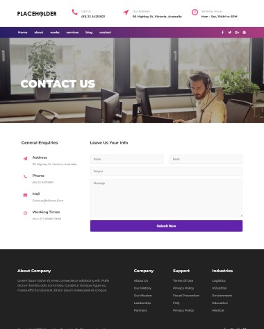 consulting elementor template contact page