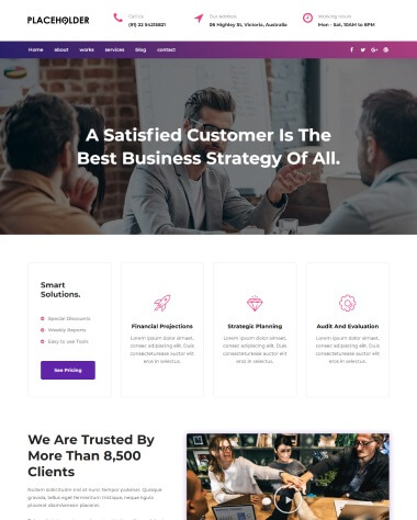 consulting elementor template homepage