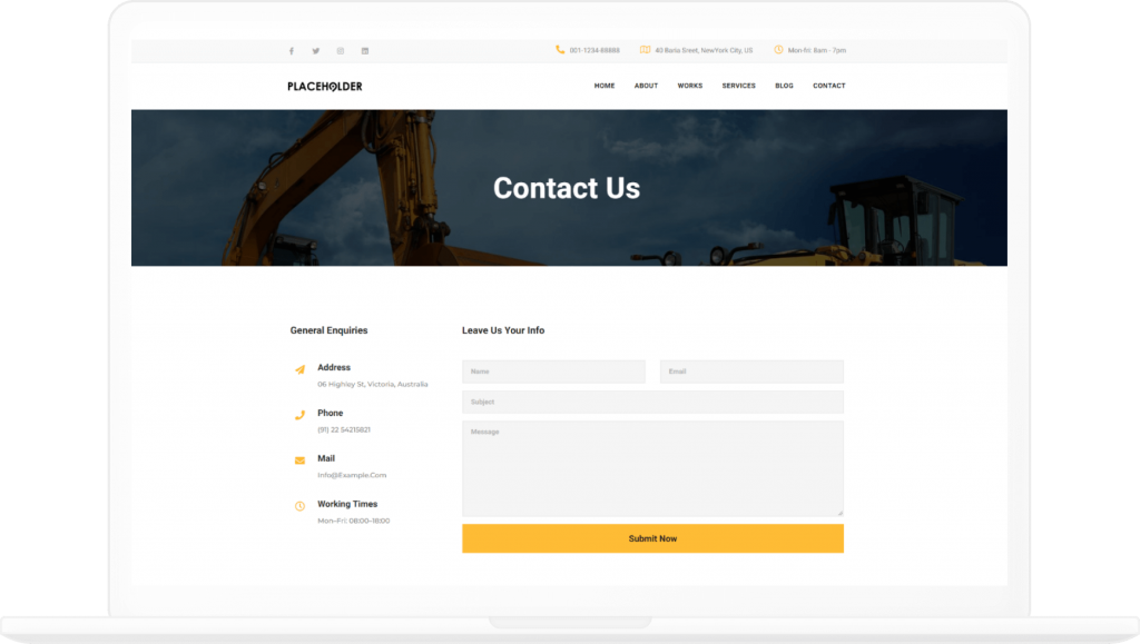 Construction Contact Page Elementor Template - Elementor Landing