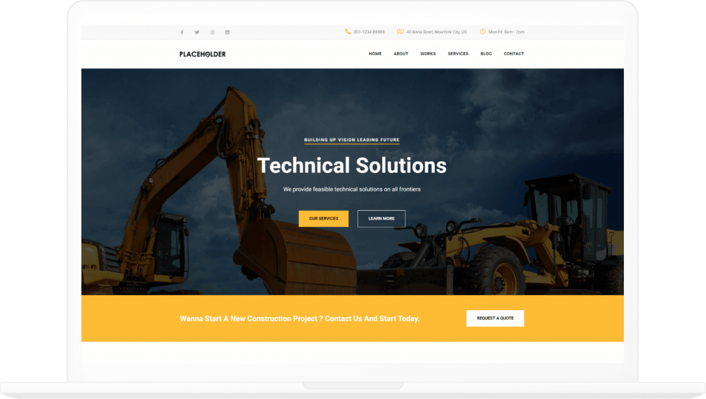 Construction Homepage Elementor Template - Elementor Landing